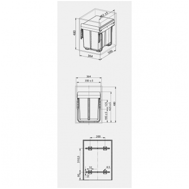 Ištraukiama šiukšliadėžė 2X20l su tvirt.kronšteinu 400 mm spintelei, pilka PB-45M002S20 2