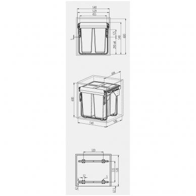 Ištraukiama šiukšliadėžė 2X34l su tvirt.kronšteinu 600 mm spintelei, pilka PB-0M2X34-60 2