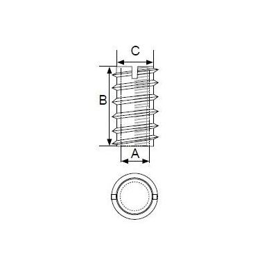 """Įvorė """"eglutė"""" C-612 M6x10x12mm, geltonas cinkas 2"""