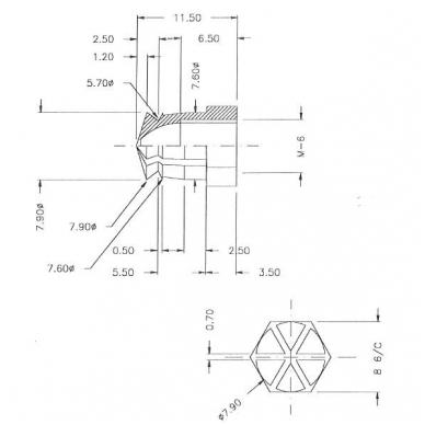 Įvorė žalvario M6x11.5 mm 2
