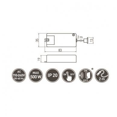 Judesio daviklis-jungtukas 100-240V vienafunkcinis spintai 2