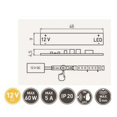 Jungtukas klijuojams,LED profiliams 60W, AE-WLPR-60 3