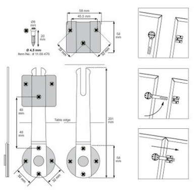 Kablinė stalviršio sąvarža XL 201mm F 5