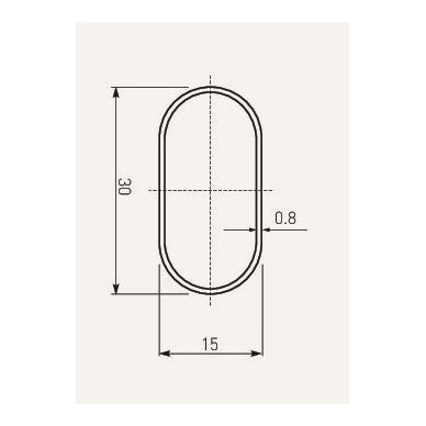 Kartelė ovali nikeliuota 30x15x0,7mm 3000 mm 2