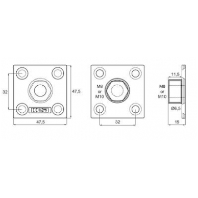 KEA keturkampė plokštelė M10 c/c 32 mm 4