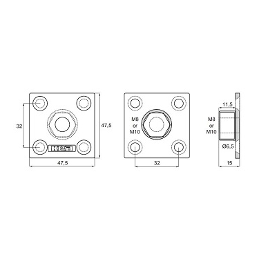 KEA keturkampė plokštelė M8 c/c 32mm 2