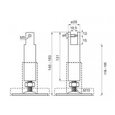 Kojelė 140 mm 10-18 mm plokštei,  SS304 4