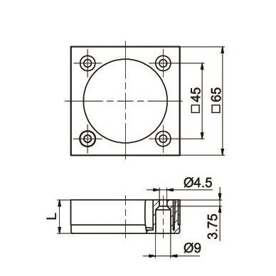 Kojelė aliumininė 65x65mm 2