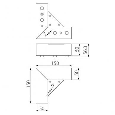 Kojelė MODERN 150*150,H56, chromas 2