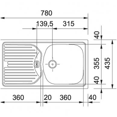 Kriauklė ETL 614, matinė rifliuota 2
