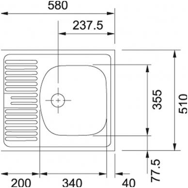 Kriauklė ETN 611 su sifonu 2