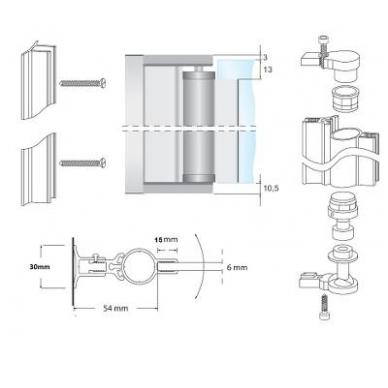 Lankstas dušo kabinai 1,9 m, aliuminis 2
