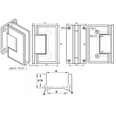 """Lankstas dušo kabinai """"CPH"""" siena/ stiklas reguliuojamas 2"""