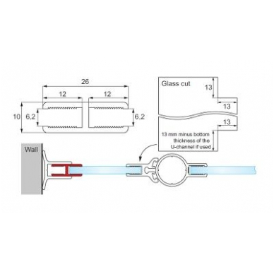 Lankstas dušo kabinai H-tipo 1,9 m, chromas 2