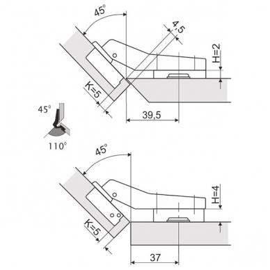 "Lankstas \Slide-on\"" D.35 mm 45'"" 2"