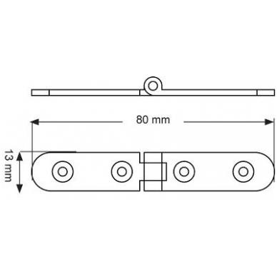 Lankstas SLIM 13x80x2 mm, žalvaris 2
