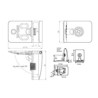 Lankstas SQUARE 4-6 mm stiklo durelėms, chromas 2