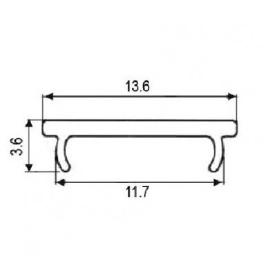 LED profilio uždengimas OLL-02, skaidrus 2