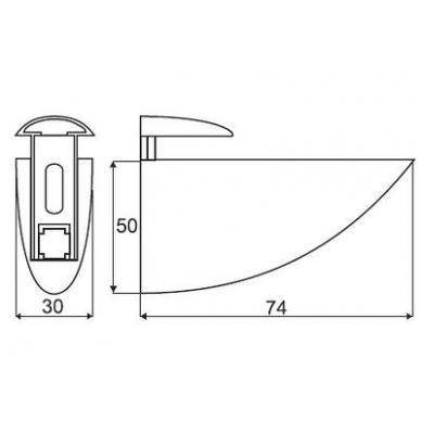 Lentynos laikiklis 52, 4-19 mm, mat. chromas 2