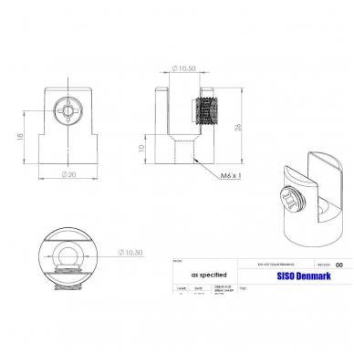 Lentynos laikiklis D.20x26 mm 6-10 mm stiklui 3