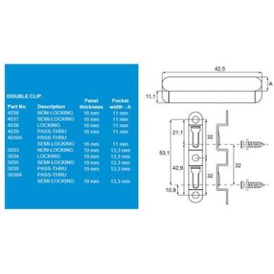 MOD-EEZ dviguba sąvarža 5034 19 mm plokštei 2