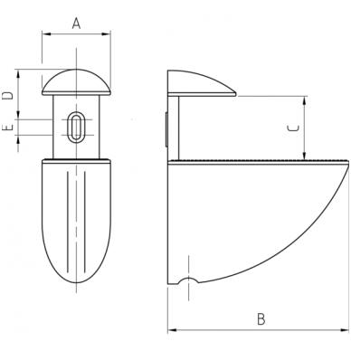 Modernus lentynos laikiklis ovalus (vidutinis) 2