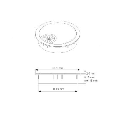 Plastmasinis dangtelis komp.laidams D.60x18 mm su guma, chromas 2