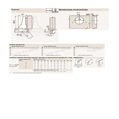 Pusinis BLUM lankstas su integruotu slopintuvu+ CLIP plokštelė 0 mm 2