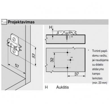 Pusinis BLUM lankstas su integruotu slopintuvu+ CLIP plokštelė 0 mm 4