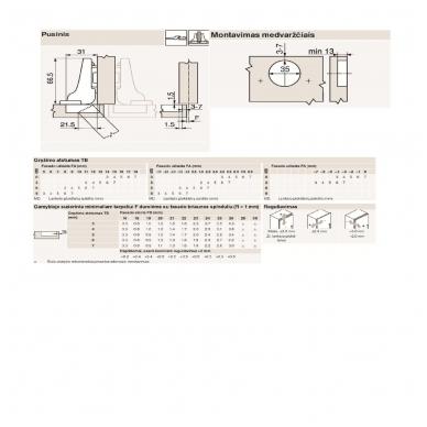 Pusinis lankstas BLUM+ CLIP plokštelė 0 mm 2