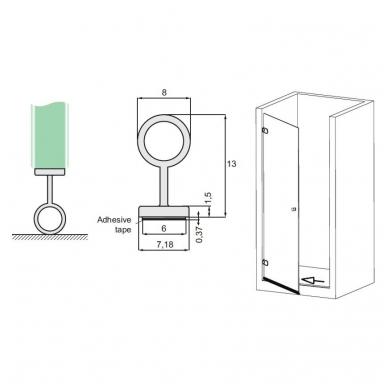 PVC tarpinė stiklas/ grindys ADH05 2,5 m 8-12 mm stiklui 2