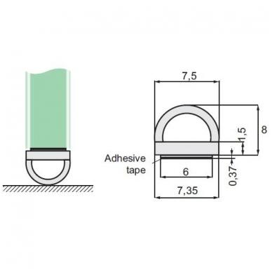 PVC tarpinė stiklas/ grindys L-2,5 m 8-12 mm stiklui 2