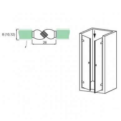 PVC tarpinė stiklas/ stiklas su magnetu 180' 8-12 mm stiklui, ADH07 2