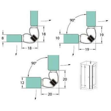 PVC tarpinė stiklas/ stiklas su magnetu 90' 8-12 mm stiklui, ADH06 2