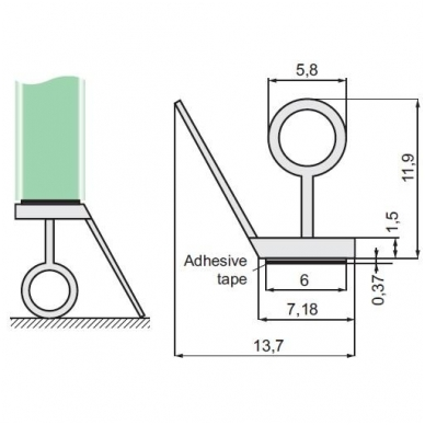 PVC tarpinė stiklas/grindys 8-12 mm stiklui, 2,5m 2