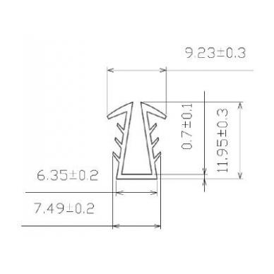 PVC tarpinė stiklui, U-formos 2