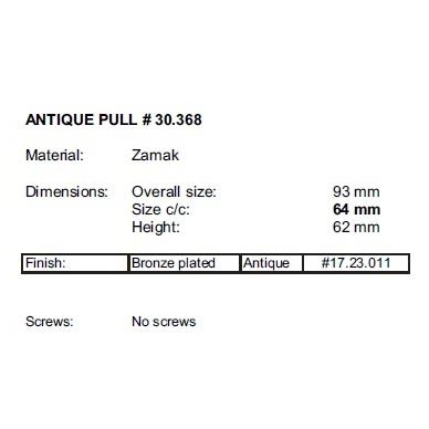 Rankenėlė 30368 64 mm, sendinta bronza 2