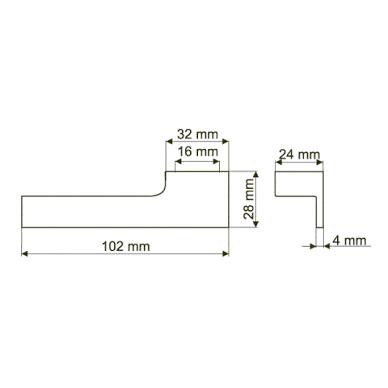 Rankenėlė L-16mm, chromas, dešinė 2