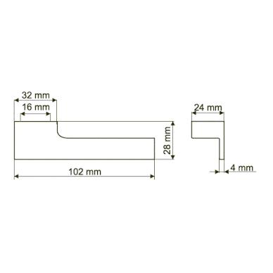 Rankenėlė L-16mm, chromas, kairė 2
