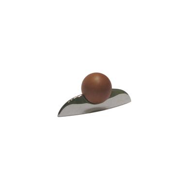 Rankenėlė su rudu rutuliuku D.20, L-32mm,mat.nikelis