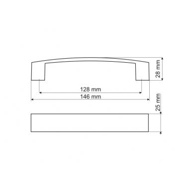 Rankenėlė UA10C00 128 mm, aliuminis 2