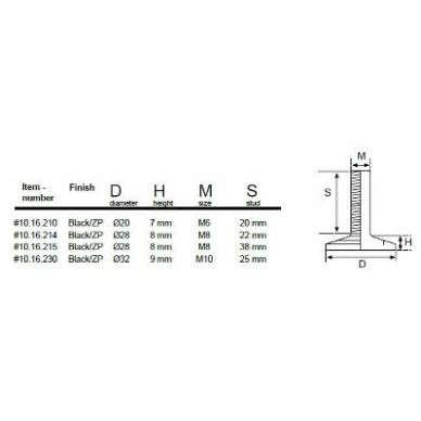 Reguliuojama kojelė d-28mm, M8x22mm 2