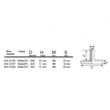 Reguliuojama kojelė TITAN D.26x10 mm, smeigė M8x25 mm, balta 2