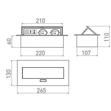 Rozetė horizontali 3-jų lizdų , aliuminis 2