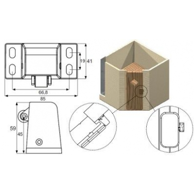 Saunos durų skląstis, aliuminis 2