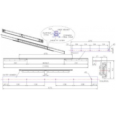 """Sinchroninis stalo ištraukimo mechanizmas """"B"""" 675/470/1051 mm 2"""