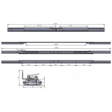 Sinchroninis stalo ištraukimo mechanizmas su stabdžiu 1250/1007/1830 mm 5