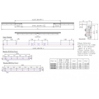 "Sinchroninis stalo ištr.mechanizmas ""B"" 1227/1020 mm, 45 kg 2"