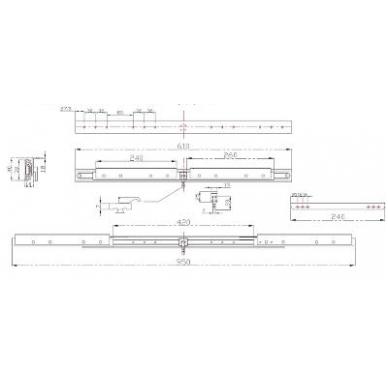 """Sinchroninis stalo mechanizmas \B\"""" su stabdžiu 610/407/950 mm"""" 2"""