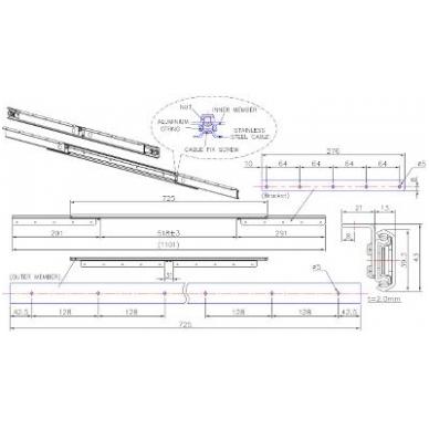 "Sinchr.stalo ištraukimo mechanizmas \B\"" 725/518 mm"" 2"